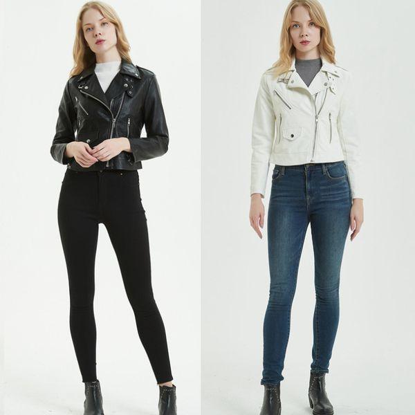 2019 New Spring Short Faux Soft PU Leather Jacket Women Diagonal Zipper Motorcycle PU Leather Jacket Ladies Basic Street Coat