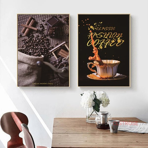2019 Nordic Pop Art Poster Black Gold Coffee Cup Coffee Bean Canvas Paintings For Cofe Shop Decoration Kitchen Wall Pictures Unframed From Anzhuhua