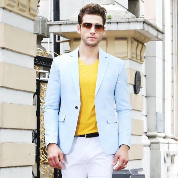 Brand New Light Blue Men Wedding Tuxdos Notch Lapel Groom Tuxedos Excellent Men Jacket Blazer 2 Piece Suit(Jacket+Pants+Tie) 2665