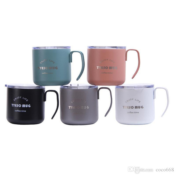 stainless steel vacuum Coffee cup With lid vacuum Insulation cup color Letter printing Office cupS new style new