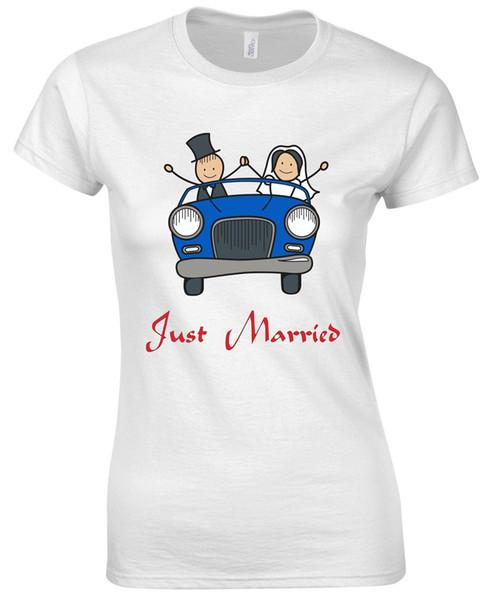 Just Married Blue Wedding Car Newly Weds Coppia Amico Famiglia Womens T shirt Uomo Donna Unisex Fashion tshirt Spedizione gratuita