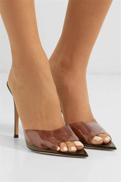 2019 luxuries crystal clear PVC women high heel dress shoes spring summer fashion reddish brown nightclub nude wedding brand shoes stiletto
