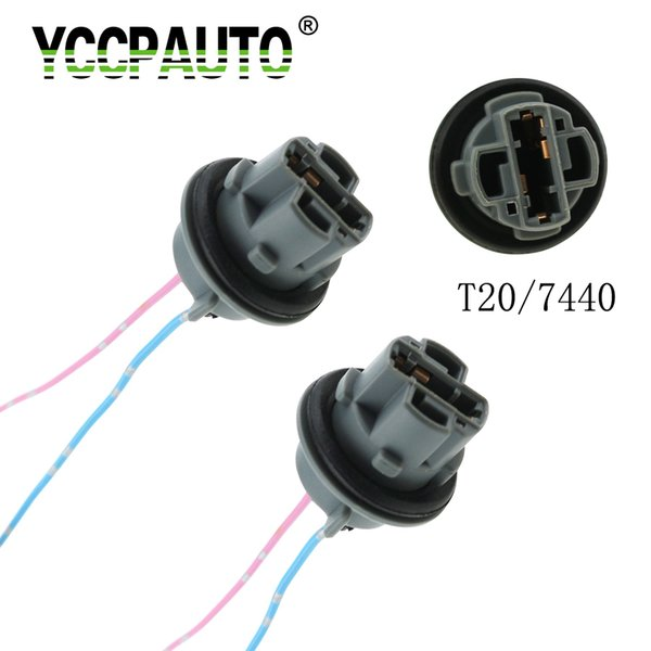 YCCPAUTO 2 T20 7440 7443 LED Bulb Adapter Holder Socket Connector Automobile LED Parking Light lamp Wiring Harness Cable 2pcs YCCPAUTO 2pcs