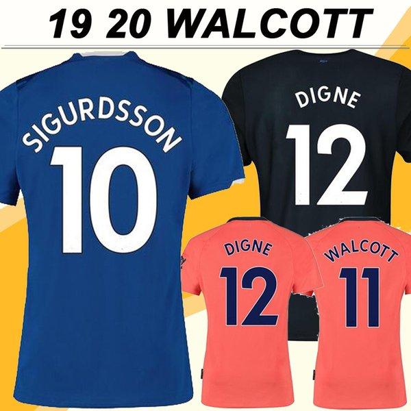 19 20 Everton WALCOTT Hommes Football Maillots SIGURDSSON RICHARLISON Accueil bleu extérieur orange 3 Football Shirts DIGNE courtes manches Uniformes