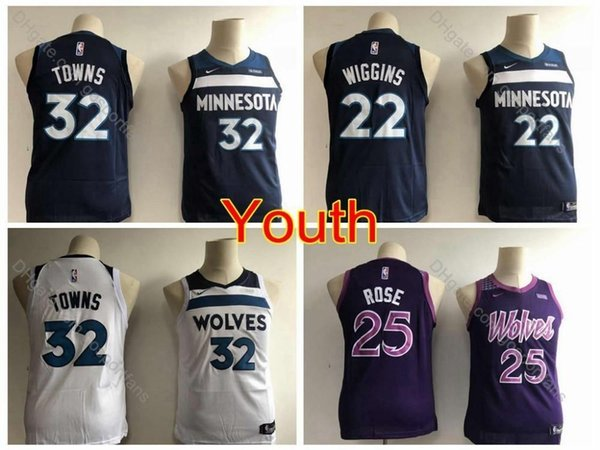big sale d4beb 41b17 2019 2019 Boys #32 Minnesota Karl Anthony Towns Jersey Kids Andrew Wiggins  Derrick Rose Timberwolves Edition Youth City Basketball Jerseys From Cc_01,  ...