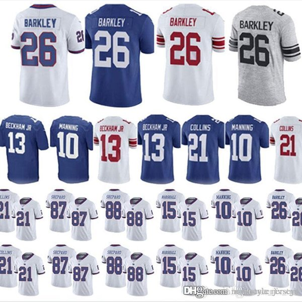 competitive price 37ff9 839dc 2019 26 Saquon Barkley Gaints Jerseys Youth 13 Odell Beckham Jr 10 Eli  Manning 15 Brandon Marshall 21 Landon Collins 87 Sterling Shepard Jerseys  From ...