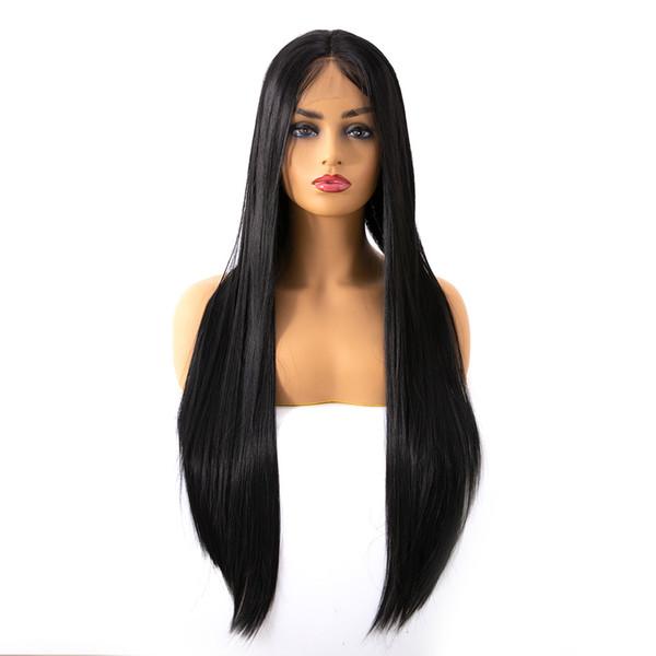 Fabrik Großhandel Euro-American heißer Verkauf 14-26 Zoll schwarz lange gerade Lace Front Kunsthaar Perücken für Frauen