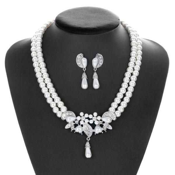 Romantic Bride Wedding Jewelry Set Imitation Pearl Necklace