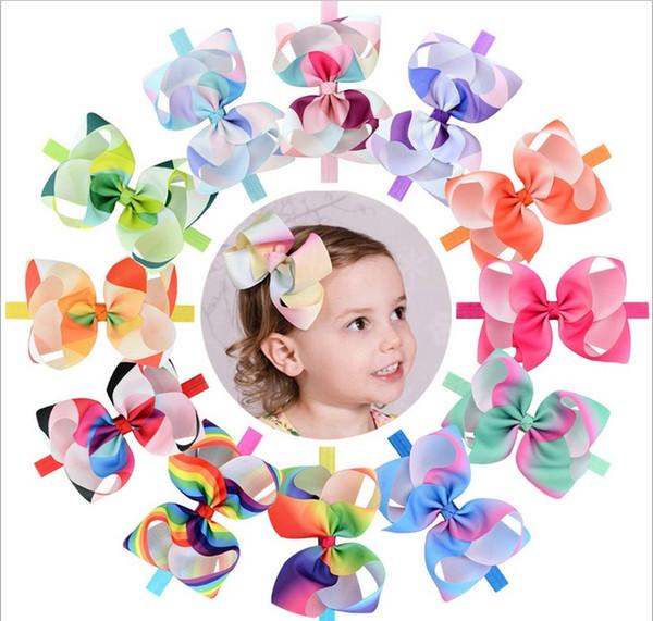 12 Colors 6 Inch Rainbow Large Ribbon bowknot baby Girl Plain Ribbon Bow Headband With Elastic Hair Accessories A116