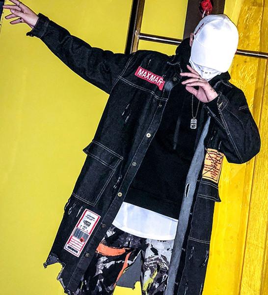 Drop Shipping Lettre Imprimé Longue Tranchée Ruban Vestes Militaires Outwear Automne Hiver Rue Haute Veste Coupe-Vent
