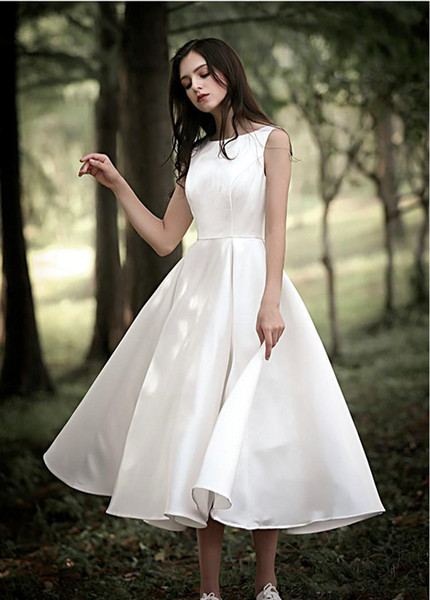 Fairy Simple tea length wedding dresses a line satin Jewel Neck Garden Country Cheap Bridal Gowns Modest Boho zipper back robes de mariée