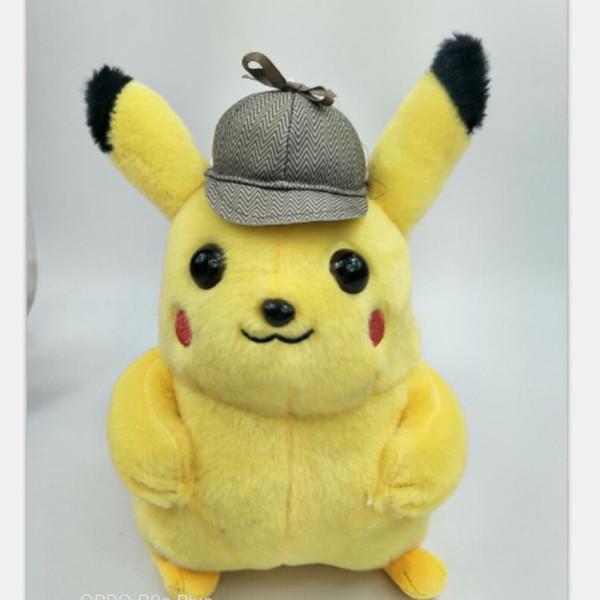 Big Detective Pikachu Doll Kid Peluche giocattolo Grab Machine Dolls Giallo regalo di compleanno Carino vendite dirette della fabbrica 10db F1