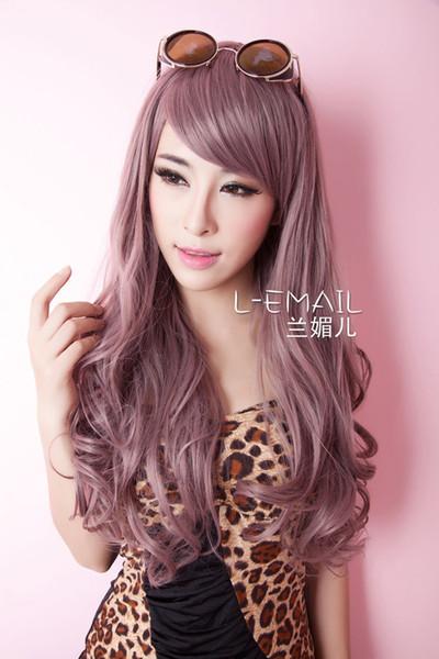 00548 free shipping Women new style 60cm long Taro charming sweet curly wavy fashion wig