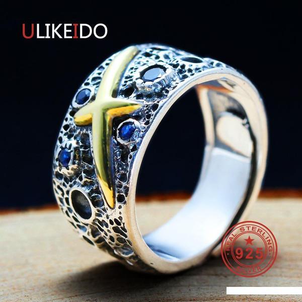100% Pure 925 gioielli Silver Cross Rings Blue Star apertura Vintage Uomini Anello con sigillo per il regalo speciale Donne 0036