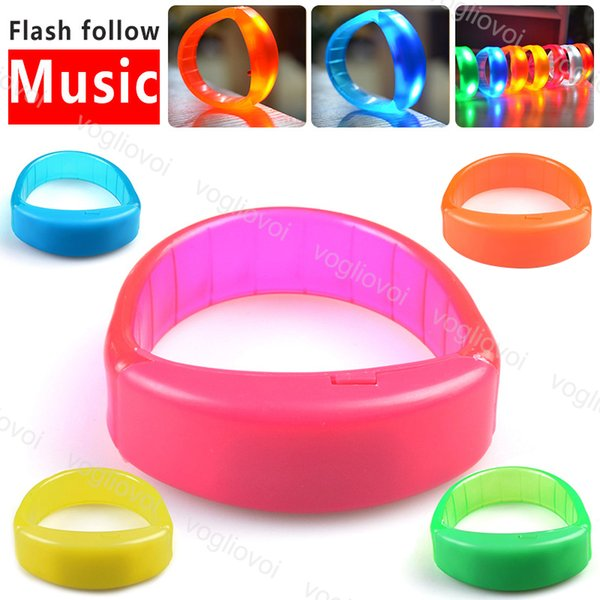 best selling Novelty Lighting Music Sound Led Color Flashing Bracelet Light Up Bangle Wristband Music Activated Night light Club Activity Party Disco DHL
