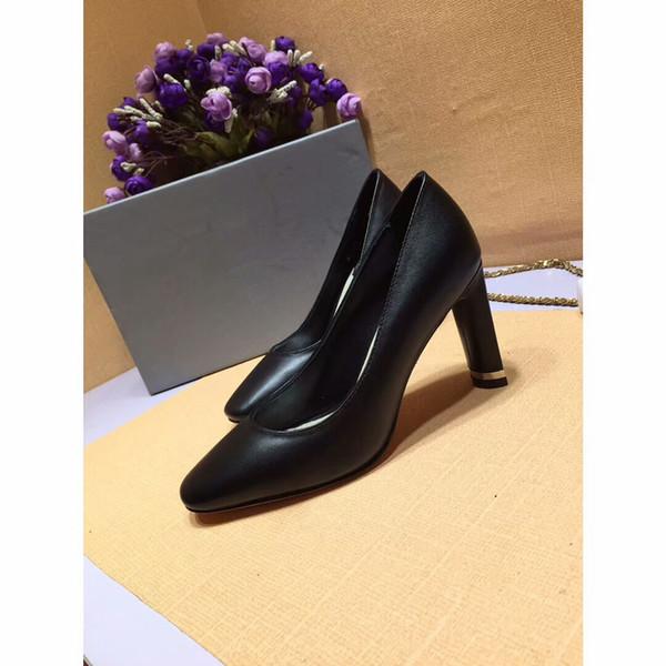 Livraison gratuite de vraies photo de mode femmes pompes brun cuir d'agneau en cuir pointe bout talons hauts talons talons chaussures bottes en cuir véritable ks19011810
