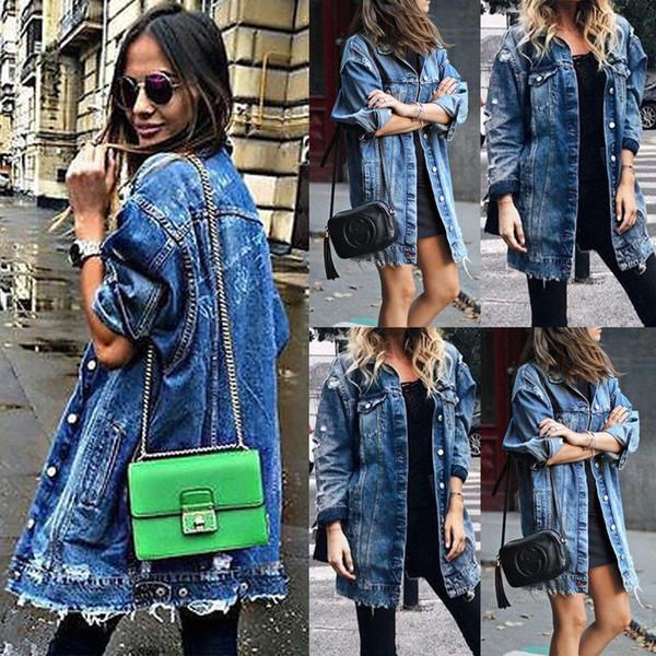 das mulheres Básico Buracos Brasão Baggy Denim Jacket manga comprida solta Street Style Outwear inverno NOVO