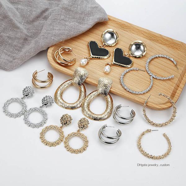 Punk Hollow Geometric Drop Dangle Gold Sliver Stud Earrings Fashion Jewelry
