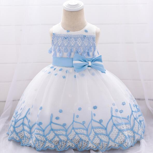2019 New Newborn Girl Christmas Dresses with Bow infant Girl Princess Dress Baby Party Birthday Baptism Dress for Wedding