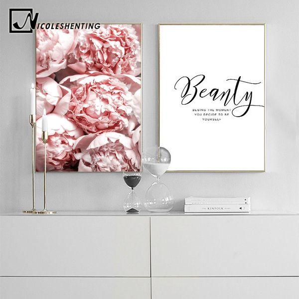 Acheter Blush Rose Fleur Toile Affiche Nordique Style Pivoine Floral Mur Art Imprimer Peinture Décoration Photo Scandinave Décor à La Maison De 3563