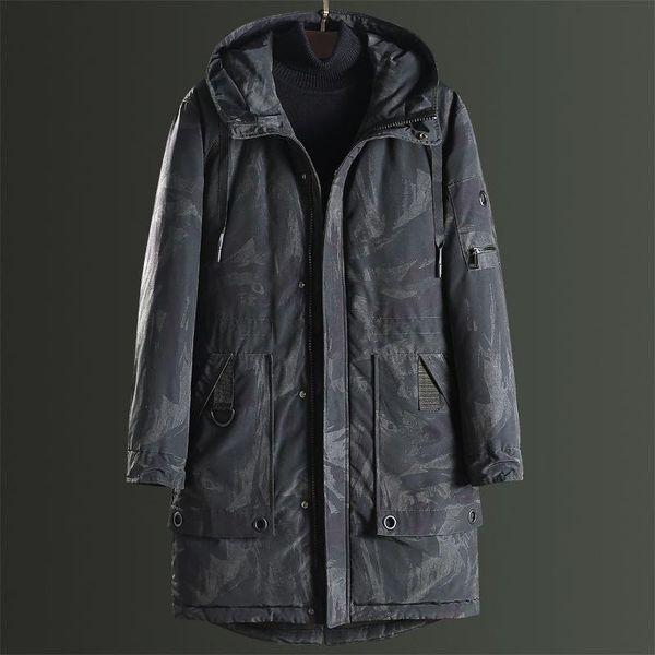 Moda giacca invernale Uomini Fur Collar Parka spessore caldo uomini incappucciati Outwear camuffamento casuale giacca di velluto Trench parti superiori casuali