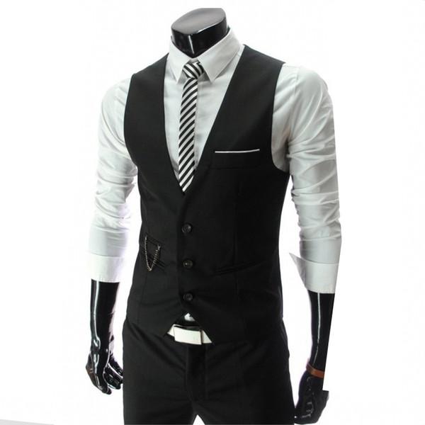 Left Rom Nice New Men Fashion Boutique Pure Color Slim Vestido de novia Traje Chaleco / Hombres Chaqueta de traje de negocios de gama alta Hombres Chaleco