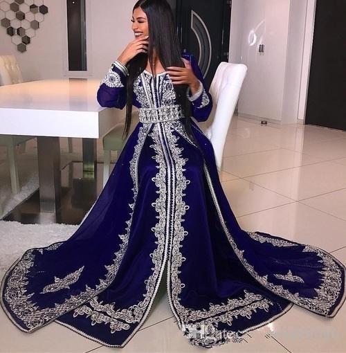 Arabistan Uzun Kollu Gelinlik Modelleri V Yaka Kristal Boncuk Dantel Aplike abaya kaftan Glamorous Dubai Saten Kat Uzunluk Balo Elbise