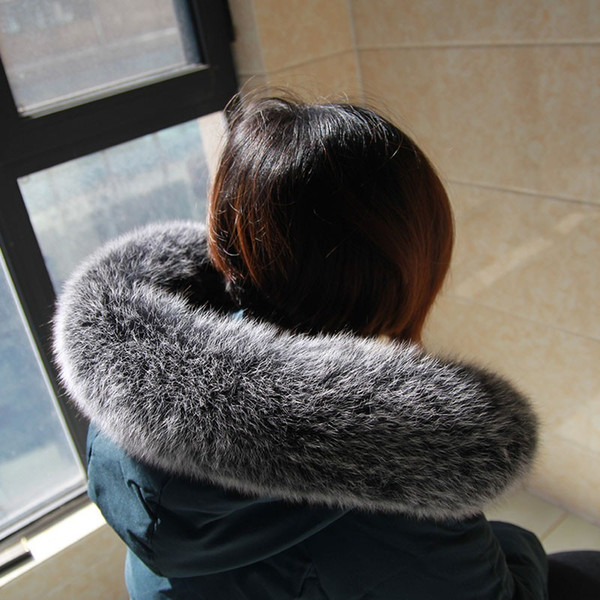 Big Size Woman Winter Fashion Warm 100% Real Fur Collar Scarf 70cm Length Coat Jacket Natural Fox Fur Collar