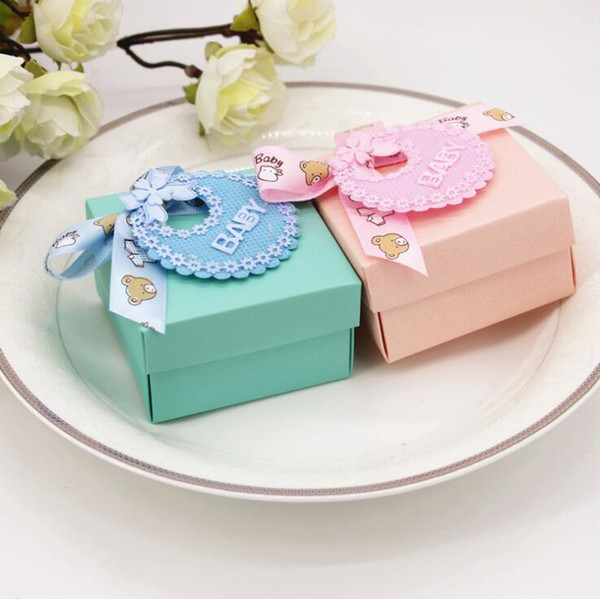 DIY Paper Wedding Gift Christening Baby Shower Party Favor Boxes Tiffany Babyshow Candy Box with Bib Tags & Ribbons