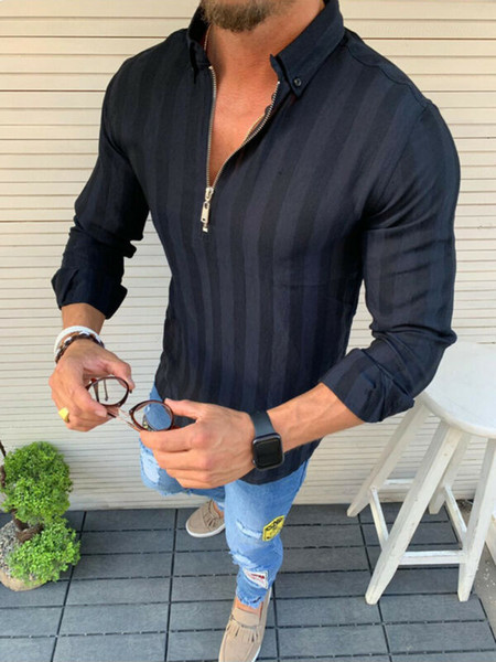 top popular Mens Linen Blouse Zipper Stylish Casual Slim Fit Shirt Long Sleeve Muscle Solid Color Comfortable Tops Plus Size M-XXL 2021