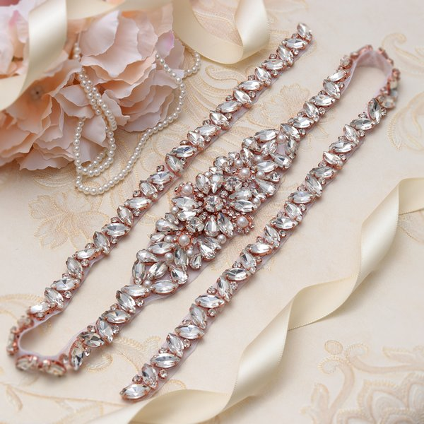 MissRDress Thin Full Long Wedding Sashes Belt Rose Gold Crystal Rhinestones 1 Piece Bridal Belt Sash For Wedding YS858