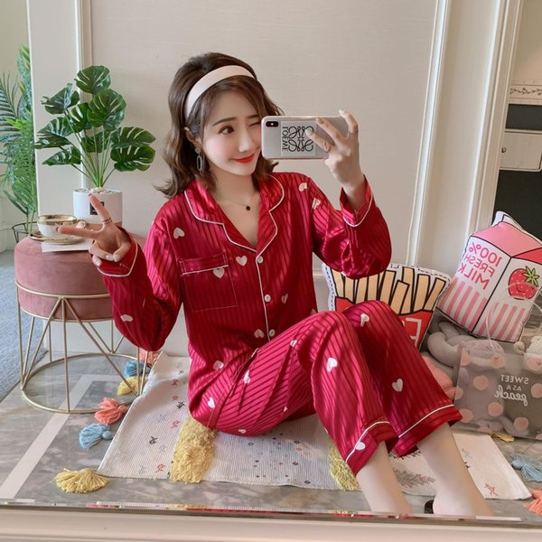 2019 Women's Printed Pajamas Set Satin Silk Girls Casual Pants Long Sleeve T-Shirt Sleepwear Nightwear Set Pyjama Sets Femme