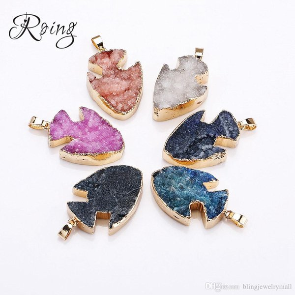 Roing Fashion Mixed Color Natural Stone Crystal Fish Charms Pendants For DIY Jewelry Making High Quality Necklace C021