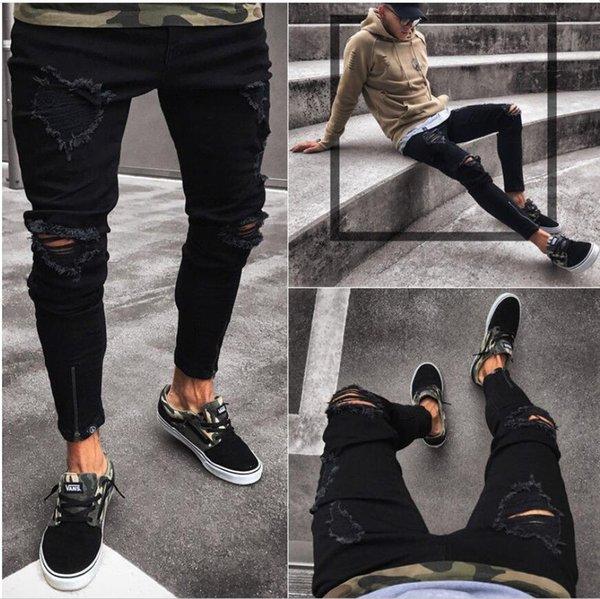 Джинсы мужские рваные рваные зауженные джинсы Хип-хоп тонкая молния Fly рваные отверстия джинсовые брюки-карандаш складывать Одежда