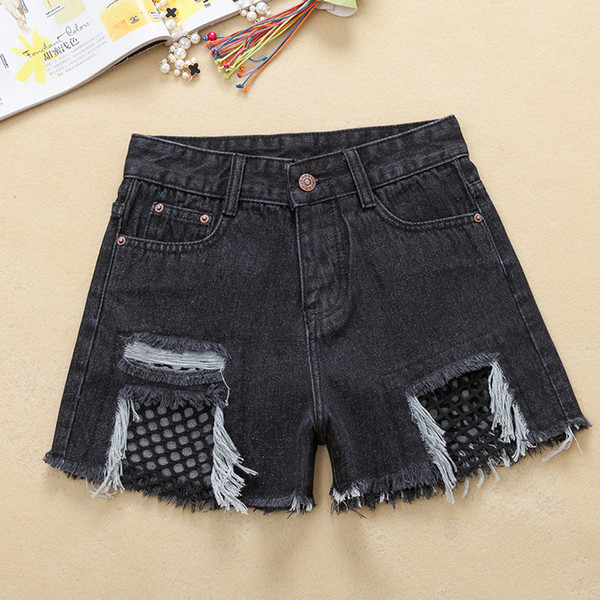 Grids Ripped Frayed Short Jeans womens summer High Waist Washed Slim Holes Jean Shorts 2019 Casual Denim Shorts Feminino