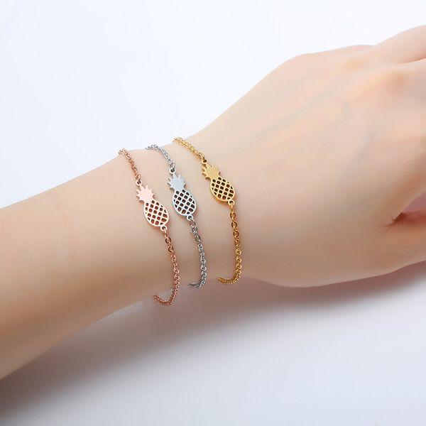 Minimalism Pineapple Bracelet For Women Dainty Gifts BFF Jewelry Friendship Stainless Steel Rose Gold Ananas Bracelet