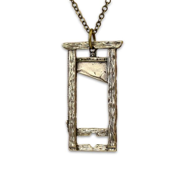 antique bronze silver Guillotine necklace silver french Guillotine pendant necklace
