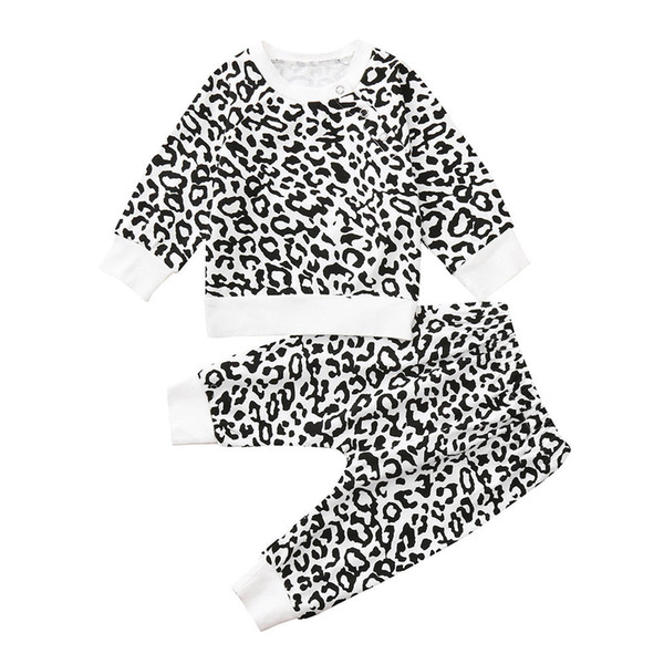 good quality Baby clothes Boy Girl Clothing Set 2PCs Leapord Print Tops T-shirt Pullover Sweatshirt+Pants Clothes Set ropa recien