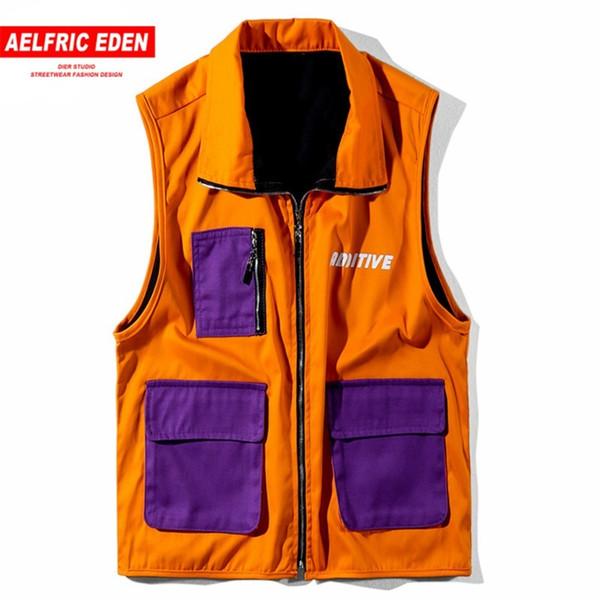 Hit Farbe Patchwork Safari Stil Sommer Herbst Weste Mode Jacke Mantel Hip Hop Taktische Weste Ad03 C19041701