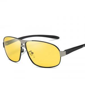 Men Polarized Sunglasses Aluminium Magnesium Night Driving Gold Rectangle HD Polarized Sunglasses UV400 Eyewear Night Vision Goggles LJJV188