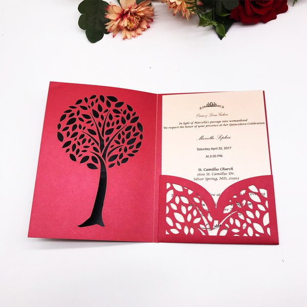 Unique Design With Tress Pattern Happiness Wedding Invitation Cards Hollow Laser Cut Graduation Thanksgiving Invitation Cards Wedding Invitation Card