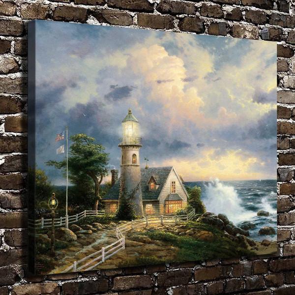 Thomas Kinkade, Fırtınada Bir Işık, 1 Parça Tuval Baskılar Duvar Sanatı Yağlıboya Ev Dekor (Çerçevesiz / Çerçeveli) 20x24.