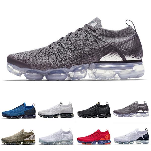 nike air vapormax flyknit 2 2019 Krom Koşu Atletik Ayakkabı Geniş Gri Gym Mavi Nötr Zeytin Takımı Kırmızı Beyaz Siyah Lazer Turuncu Açık Kadınlar Erkek Spor Sneakers