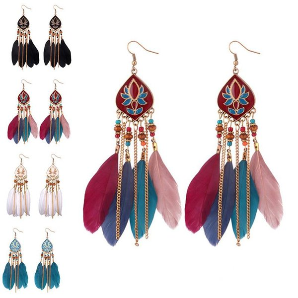 Gold Chain Feather Tassel Earrings Vintage Style Flower Dangle Chandelier Ear Cuff Fashion Jewelry for Women Will and Sandy A0132