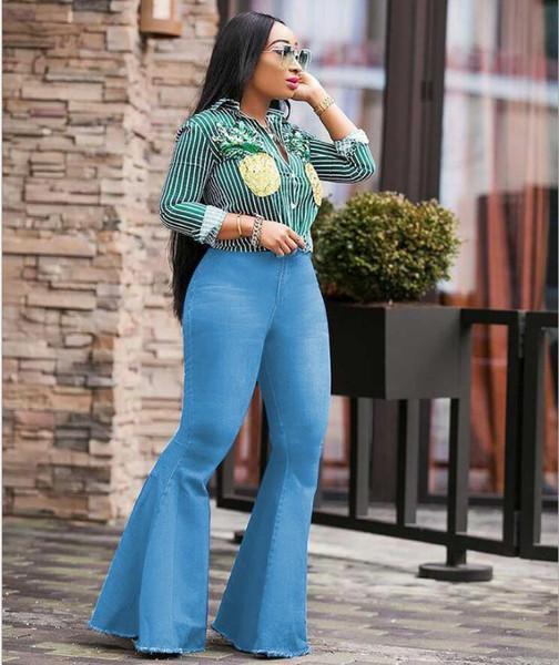 Womens Wide Leg Jeans Fashion Big Bell Bottom Pants Retro Female Denim Clothing Button Casual Apparel