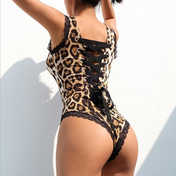 2019 spring and summer designer explosions best selling butterfly straps black luxury sexy lace leopard temptation bottoming jumpsuit