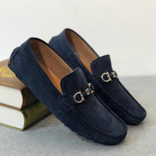 Excelente calidad hecha a mano para hombre Cuadrado Medio zapatos de vestir de metal hebillas de los hombres de perforación transpirable verano Zapatos Mocassin 38-44