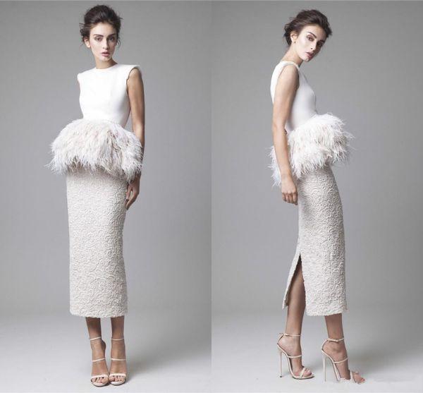 Krikor Jabotian White Feathers Evening Dresses 2019 Formal Back Split Peplum Fur Pencil Sheath Tea Length Prom Gowns Lace Party Gowns