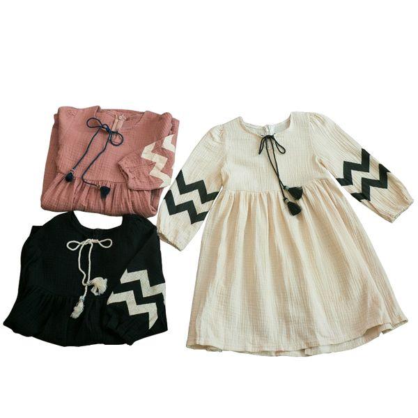 Китайский стиль кисточкой весна осень с длинными рукавами хлопок платье принцесса костюм возраст для 3-12 лет маленькие девочки винтажные платья