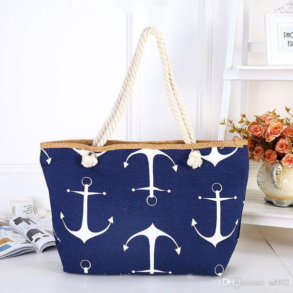 Women Handbag Leisure Beach Bags Canvas Printing Cotton Rope Ships Anchor Single Shoulder Sturdy Durable Zipper Design 13 5zpC1